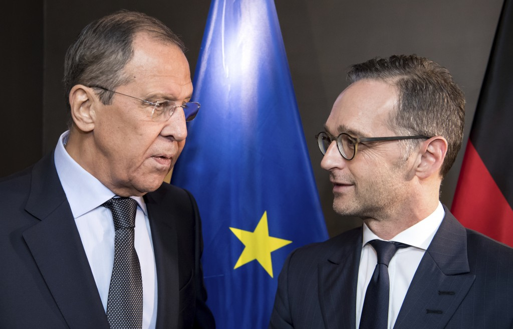 German foreign minister Heiko Maas, right, talks to Russian foreign minister Sergej Lawrow at a bilateral meeting at the Security Conference in Munich...