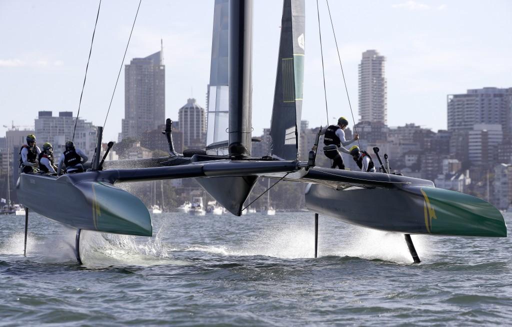 The Australian team race their F50 catamaran during their SailGP race on the harbor in Sydney, Friday, Feb. 15, 2019. Six super-charged F50 catamarans...