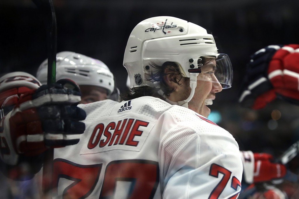 Washington Capitals' T.J. Oshie celebrates after scoring a goal against the San Jose Sharks in the second period of an NHL hockey game Thursday, Feb. ...