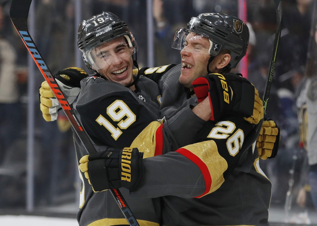 Vegas Golden Knights right wing Reilly Smith (19) celebrates after center Paul Stastny (26) scored against the Toronto Maple Leafs during the second p...