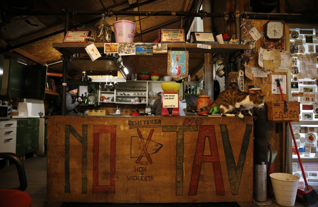 A view of the No-TAV movement headquarters in Venaus, northern Italy, Tuesday, Feb. 12, 2019. The TAV project is part of a European wide network to im...