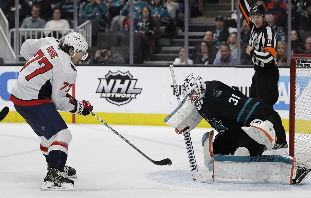 Washington Capitals' T.J. Oshie, left, scores a goal against San Jose Sharks goalie Martin Jones (31) during the second period of an NHL hockey game T...