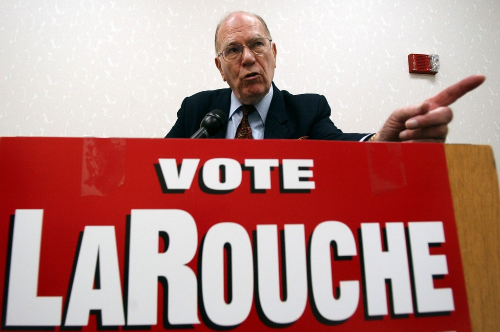 FILE - In this May 14, 2004, file photo, Democratic presidential hopeful Lyndon LaRouche Jr. campaigns in Montgomery, Ala. Fitting for a man who saw s