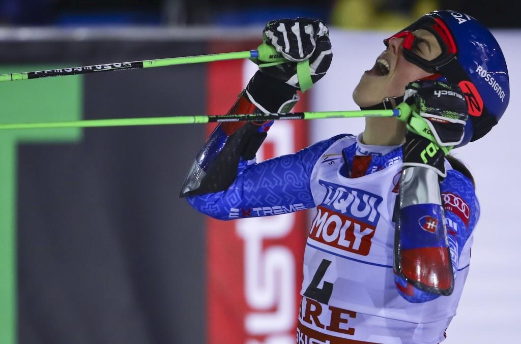 Slovakia's Petra Vlhova celebrates after winning the women's giant slalom, at the alpine ski World Championships in Are, Sweden, Thursday, Feb. 14, 20...