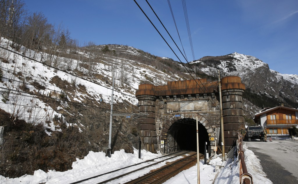 A view of the Italian entrance of the 1871 Frejus tunnel on the conventional railway between Italy and France in Bardonecchia, Italy, Tuesday, Feb. 12...