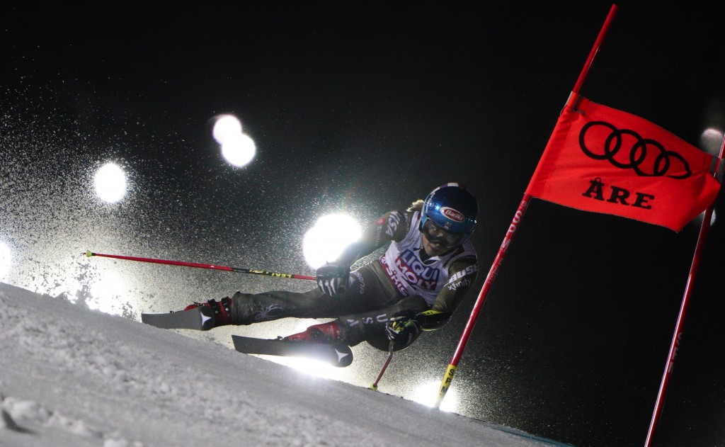 United States' Mikaela Shiffrin competes on her way to finishing third in the women's giant slalom, at the alpine ski World Championships in Are, Swed...