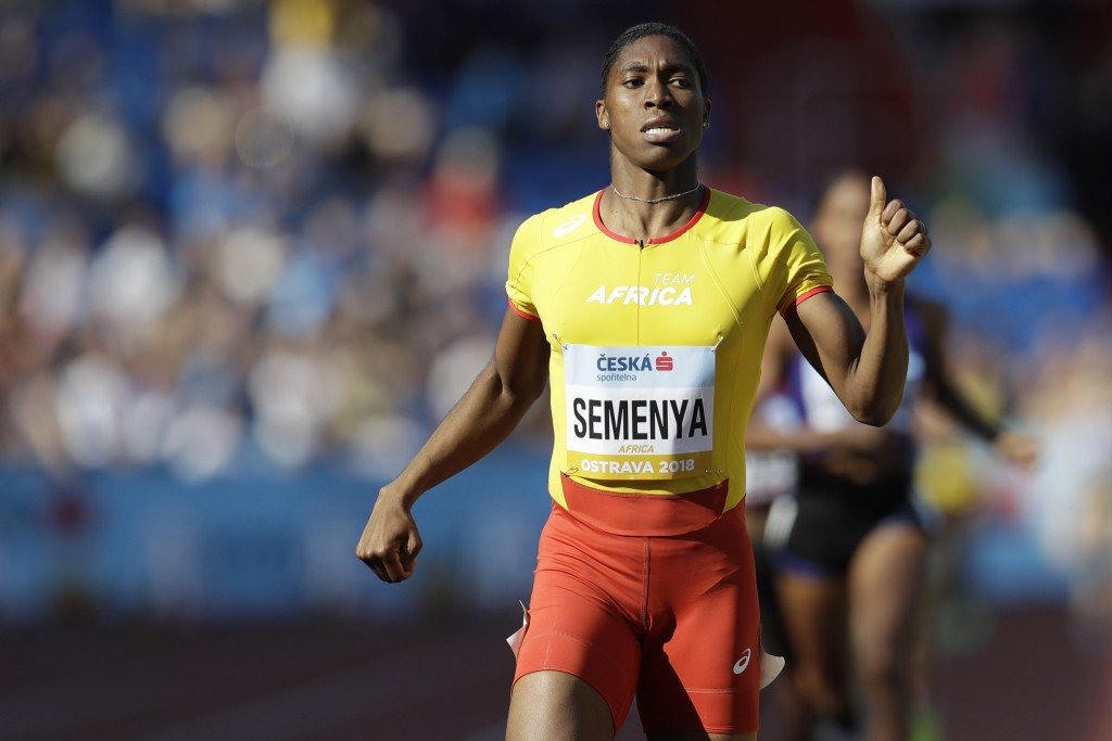 FILE - In  this file photo dated Sunday, Sept. 9, 2018, Caster Semenya of South Africa crosses the finish line to win the women's 800 meters for Afric...