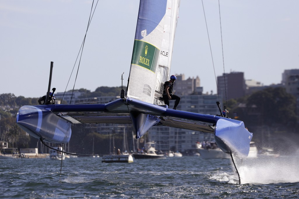 The French F50 catamaran lifts out of the water during their SailGP race on the harbor in Sydney, Friday, Feb. 15, 2019. A fleet of six super-charged ...