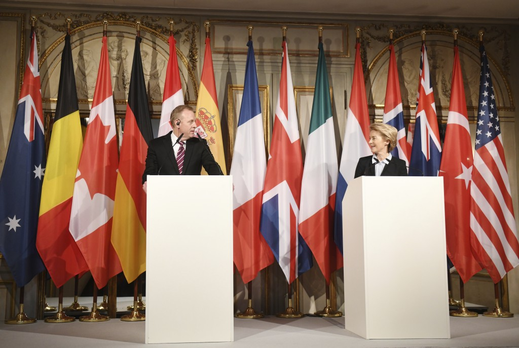 German minster of Defense Ursula von der Leyen, right, looks to United States Secretary of Defense Patrick Shanahan at a press conference during the I...