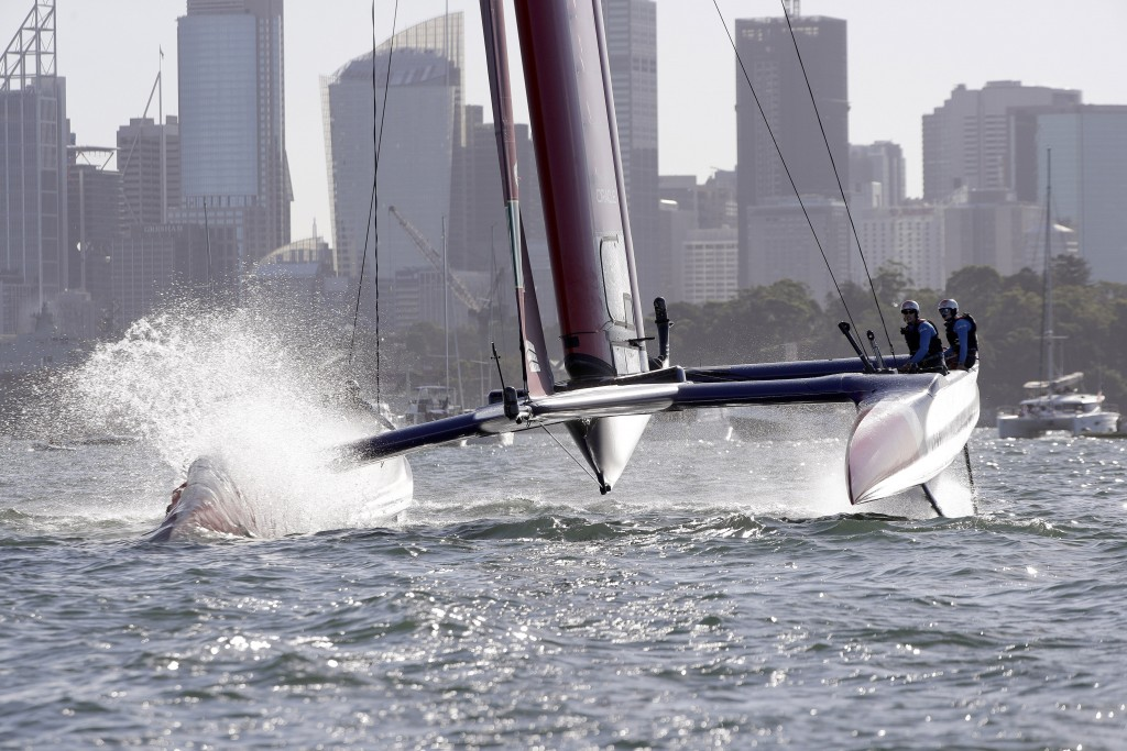 The F50 catamaran of the British makes a turn during their SailGP race on the harbor in Sydney, Friday, Feb. 15, 2019.  Six super-charged F50 catamara...