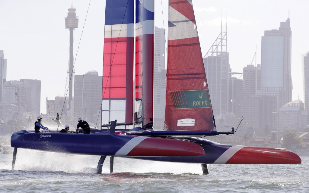 The F50 catamaran of the British team lifts out of the water during their SailGP race on the harbor in Sydney, Friday, Feb. 15, 2019. Six super-charge...