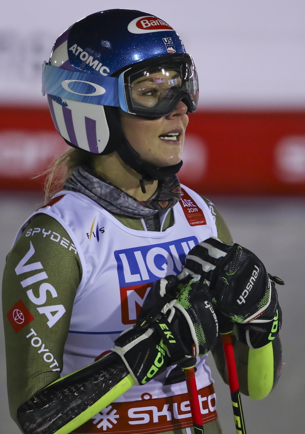 United States' Mikaela Shiffrin gets to the finish area of the women's giant slalom, at the alpine ski World Championships in Are, Sweden, Thursday, F...