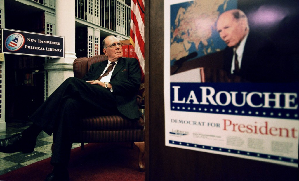 FILE - In this Nov. 12, 2003, file photo, Democratic presidential candidate Lyndon LaRouche Jr. awaits his introduction before speaking at the New Ham