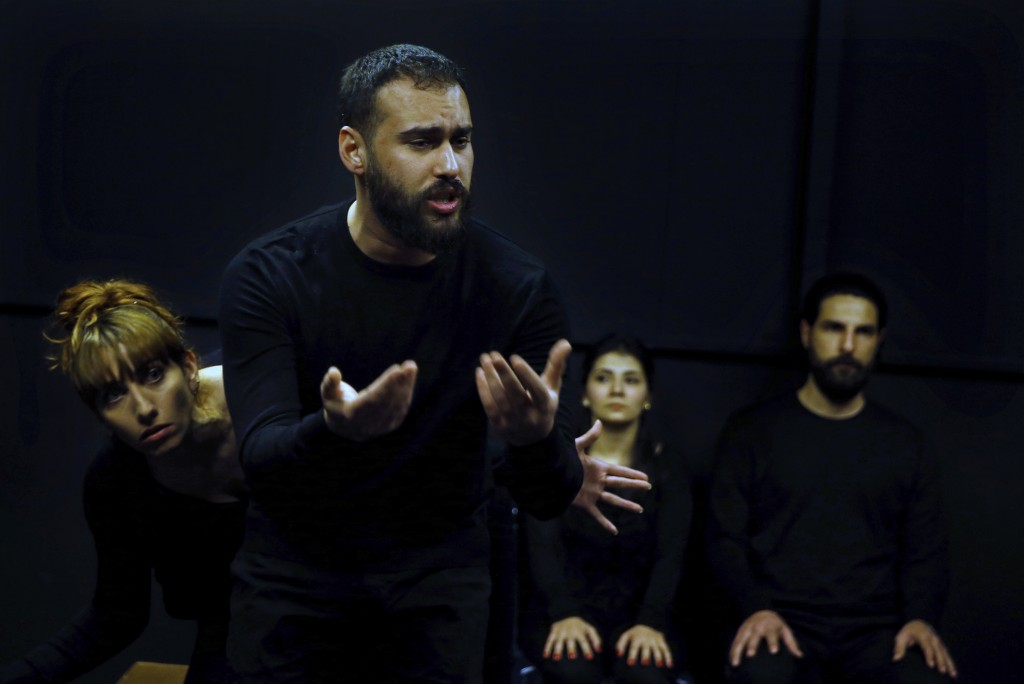 In this Friday, Feb. 8, 2019 photo, Syrian actor Hassan takes part in a playback theater at the end of a three-month training session, in Beirut, Leba...
