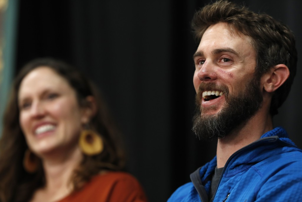 Travis Kauffman responds to questions during a news conference Thursday, Feb. 14, 2019, in Fort Collins, Colo., about his encounter with a mountain li...