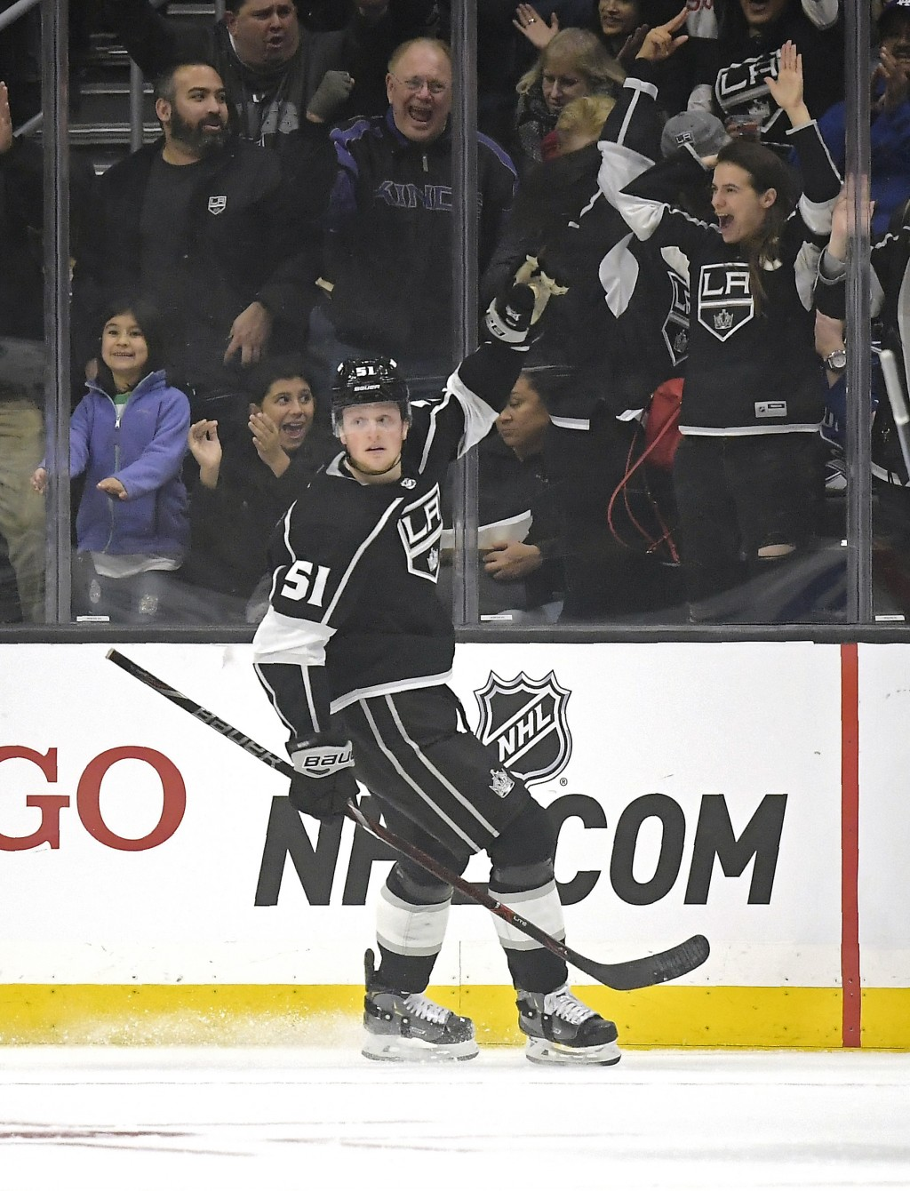 Los Angeles Kings left wing Austin Wagner celebrates his goal during the first period of an NHL hockey game against the Vancouver Canucks Thursday, Fe...