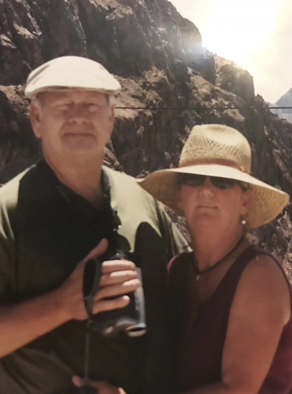 This undated photo provided by Pearl Lankford shows TK Huff, left, and his late wife Margaret. On Nov. 8, 2018, when his family called at 7:15 a.m., H...