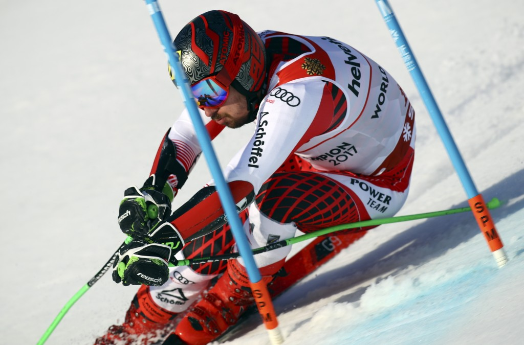Austria's Marcel Hirscher competes during the men's giant slalom, at the alpine ski World Championships in Are, Sweden, Friday, Feb. 15, 2019. (AP Pho...