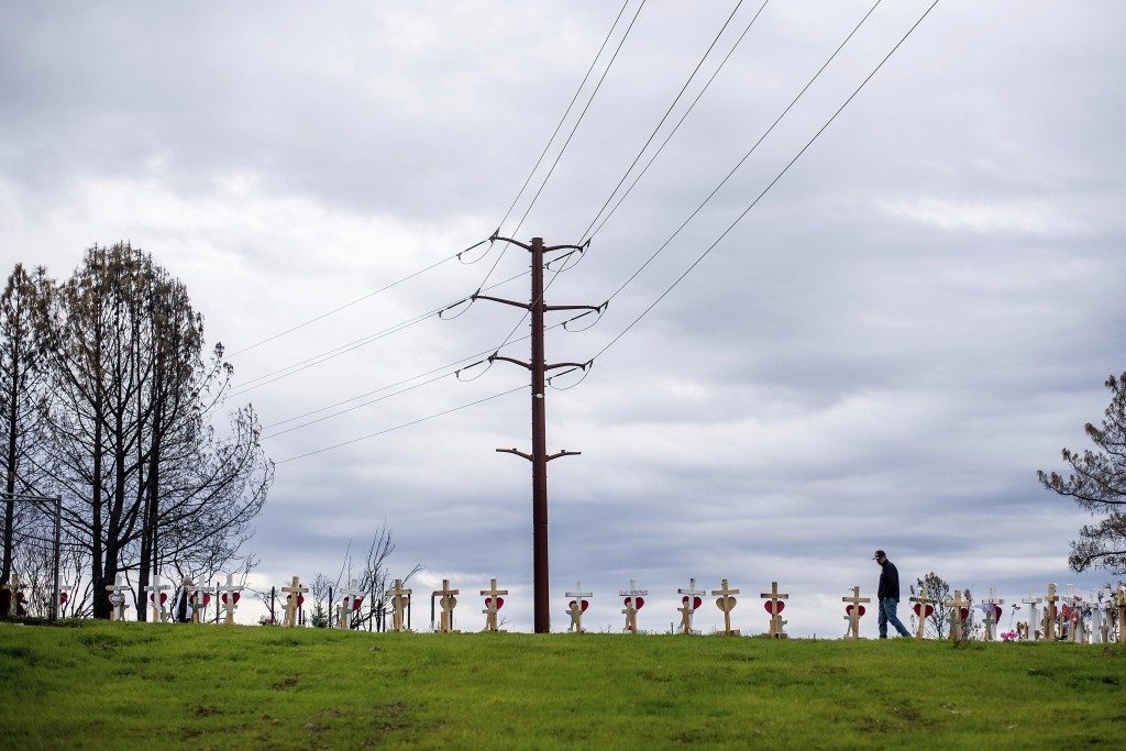 In this Feb. 8, 2019, photo, crosses memorializing Camp Fire victims line a ridge in Paradise, Calif. The blaze killed at least 85 people according to...