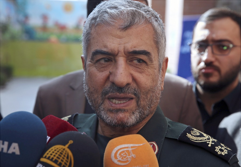 FILE - In this Oct. 31, 2017, file photo, the head of Iran's paramilitary Revolutionary Guard Gen. Mohammad Ali Jafari speaks to journalists after his...