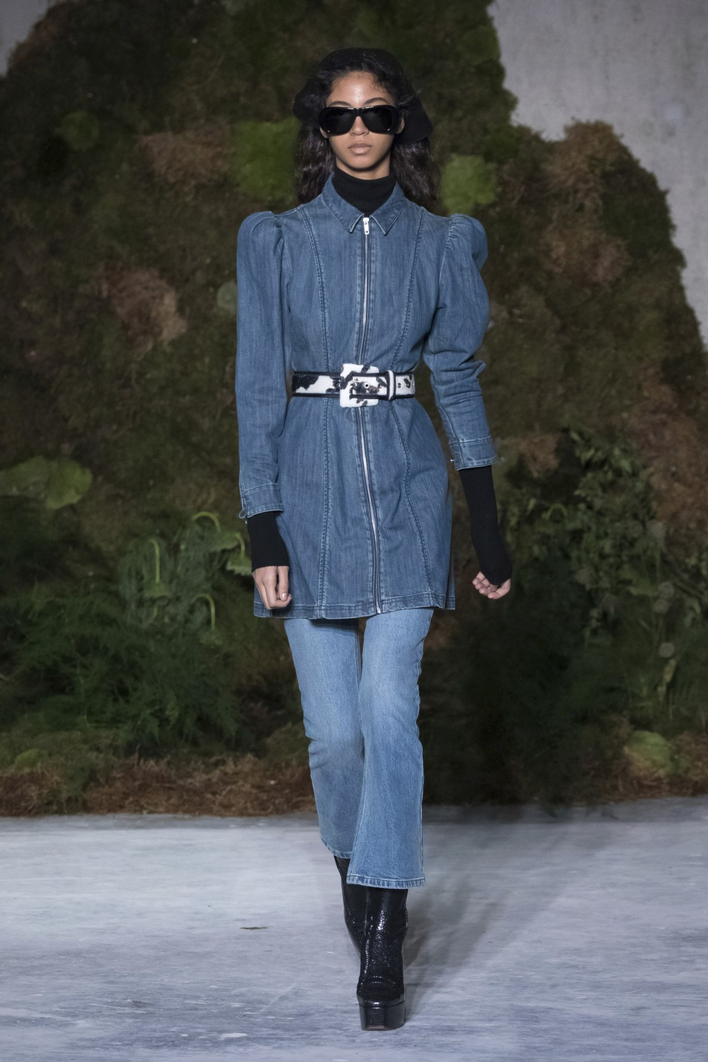 A model wears a creation by designer Alexa Chung at the Autumn/Winter 2019 fashion week runway show in London, Saturday, Feb. 16, 2019. (Photo by Vian...