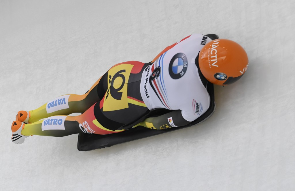 Jacqueline Loelling, of Germany rounds a curve during the women's skeleton World Cup Friday, Feb. 15, 2019, in Lake Placid, N.Y. Loelling and Elena Ni...
