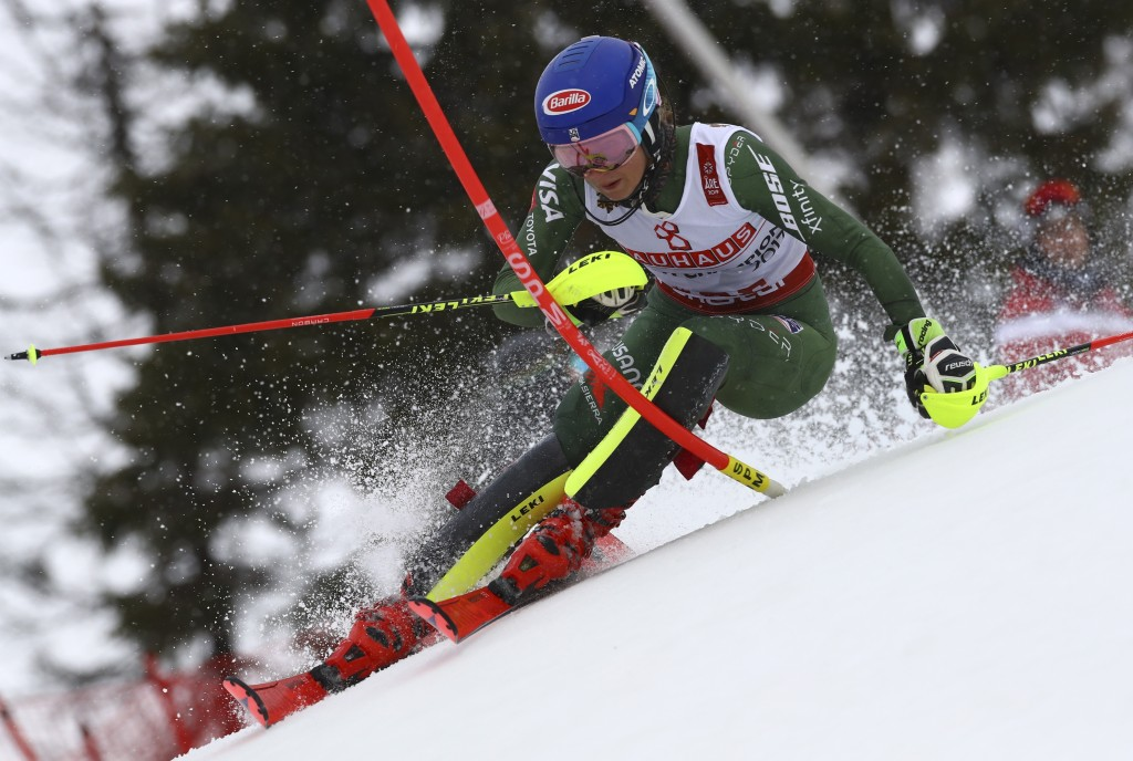 United States' Mikaela Shiffrin competes on her way to win the women's slalom, at the alpine ski World Championships in Are, Sweden, Saturday, Feb. 16...