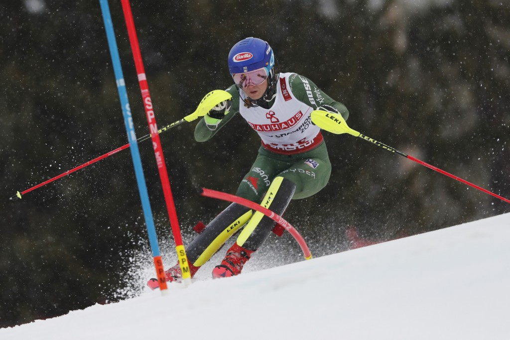 United States' Mikaela Shiffrin speeds down the course during the women's slalom, at the alpine ski World Championships in Are, Sweden, Saturday, Feb....