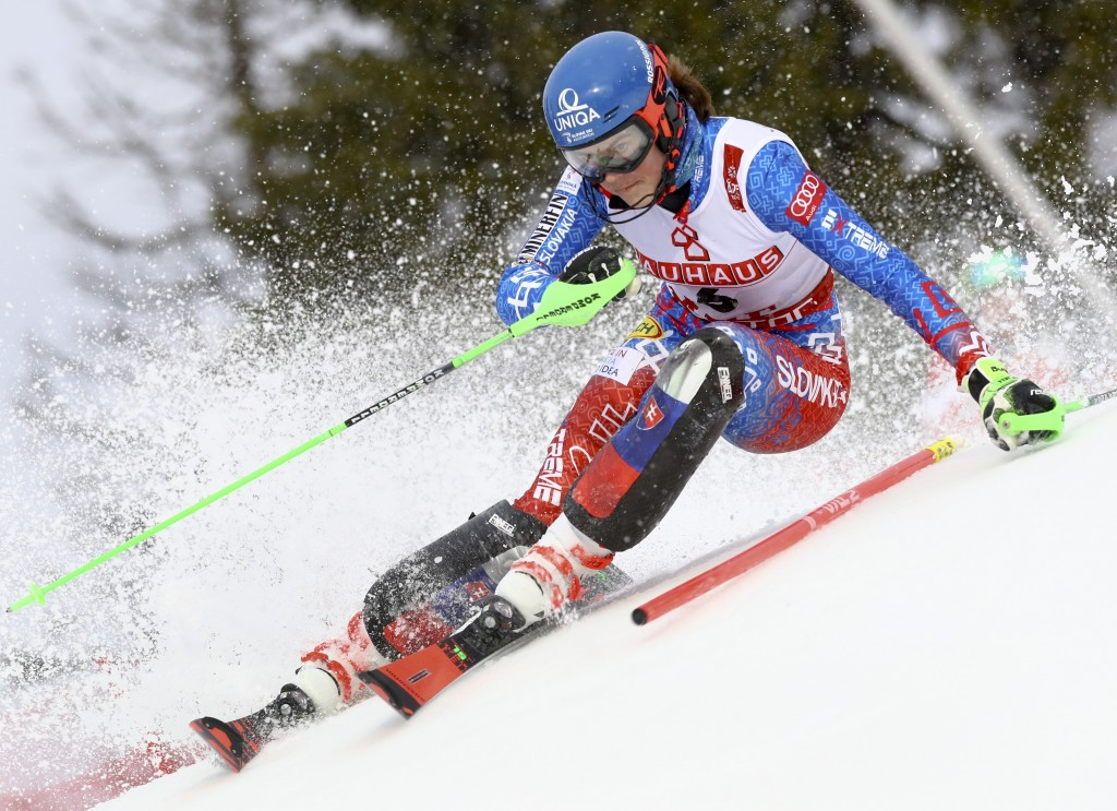 Slovakia's Petra Vlhova competes during the women's slalom, at the alpine ski World Championships in Are, Sweden, Saturday, Feb. 16, 2019. (AP Photo/A...