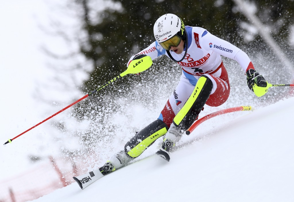 Switzerland's Wendy Holdener competes during the women's slalom, at the alpine ski World Championships in Are, Sweden, Saturday, Feb. 16, 2019. (AP Ph...