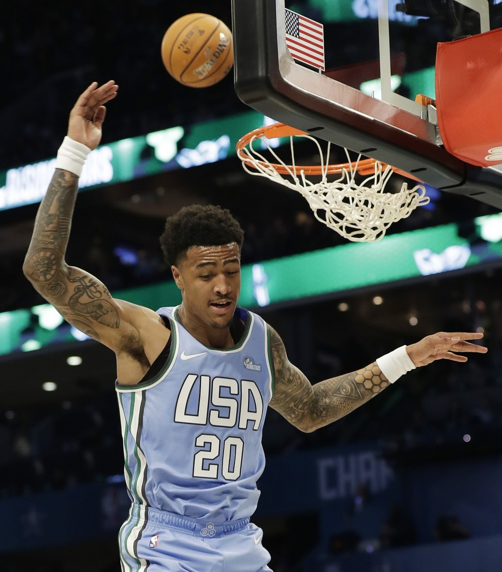 U.S. Team's John Collins, of the Atlanta Hawks misses the dunk against the World Team during the NBA All-Star Rising Stars basketball game, Friday, Fe...