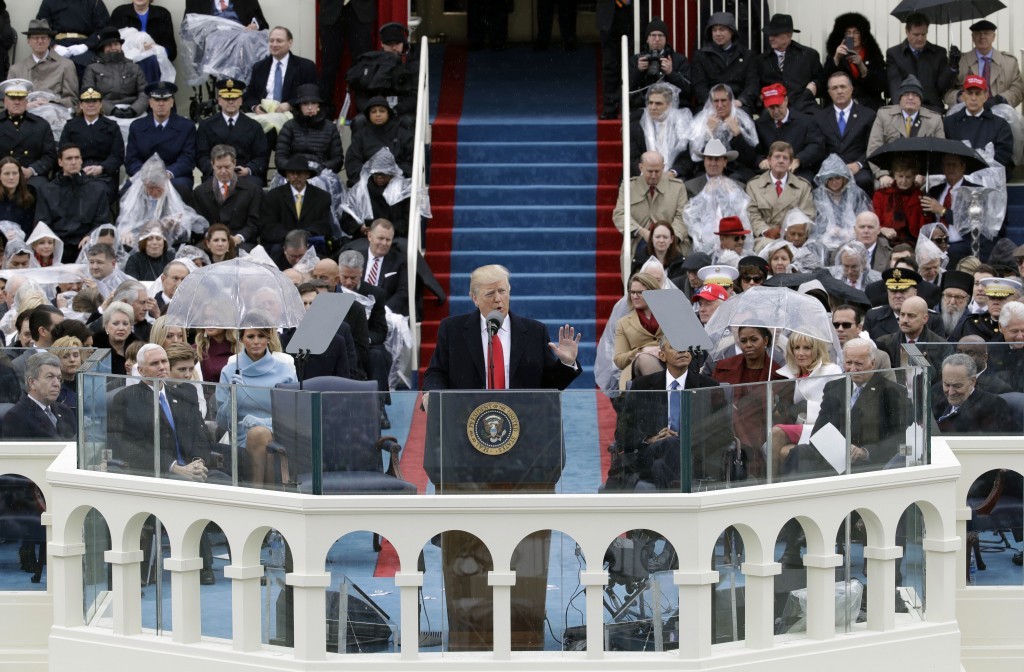 FILE- In this Jan. 20, 2017 file photo, President Donald Trump delivers his inaugural address after being sworn in as the 45th president of the United...