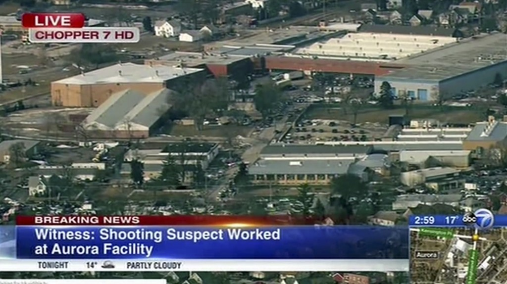 This image from video provided by ABC 7 Chicago shows the industrial park in Aurora, Ill., where officials say a gunman opened fire at the Henry Pratt...