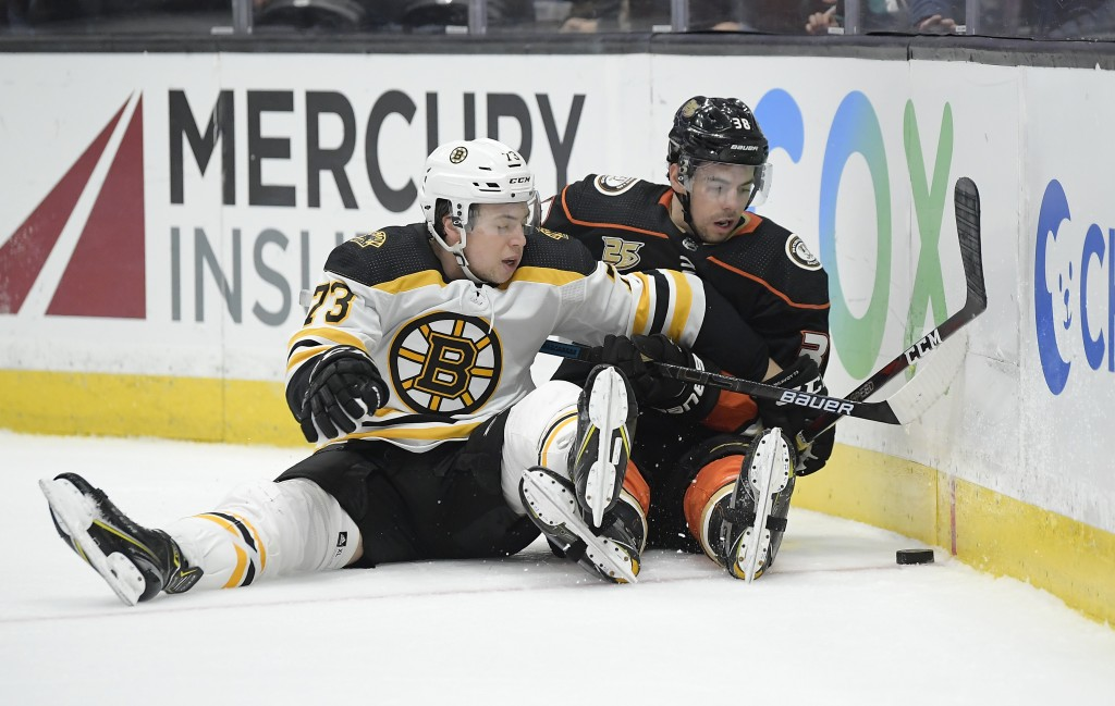 Boston Bruins defenseman Charlie McAvoy, left, and Anaheim Ducks center Derek Grant fall while competing for the puck during the second period of an N...
