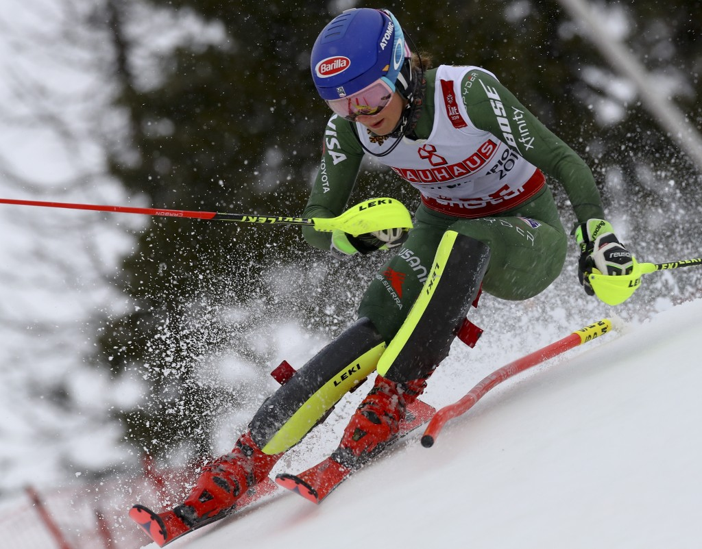 United States' Mikaela Shiffrin competes during the women's slalom, at the alpine ski World Championships in Are, Sweden, Saturday, Feb. 16, 2019. (AP...