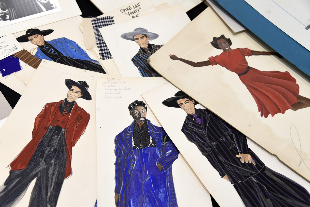 """This Jan. 15, 2019 photo shows renderings of fashions created by Oscar nominated costume designer Ruth E. Carter from Spike Lee's 1992 film """"Malcolm X..."""