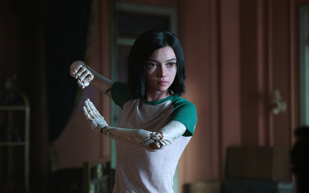 """This image released by Twentieth Century Fox shows the character Alita, voiced by Rosa Salazar, in a scene from """"Alita: Battle Angel."""" (Twentieth Cent..."""