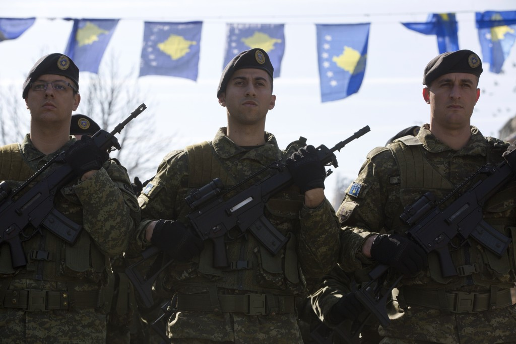 Kosovo Security Force members march during the celebration to mark the 11th anniversary of independence in Pristina, Sunday, Feb. 17, 2019. Thousands ...