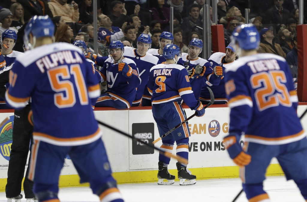 New York Islanders' Ryan Pulock (6) celebrates with teammates after scoring a goal during the second period of an NHL hockey game against the Edmonton...