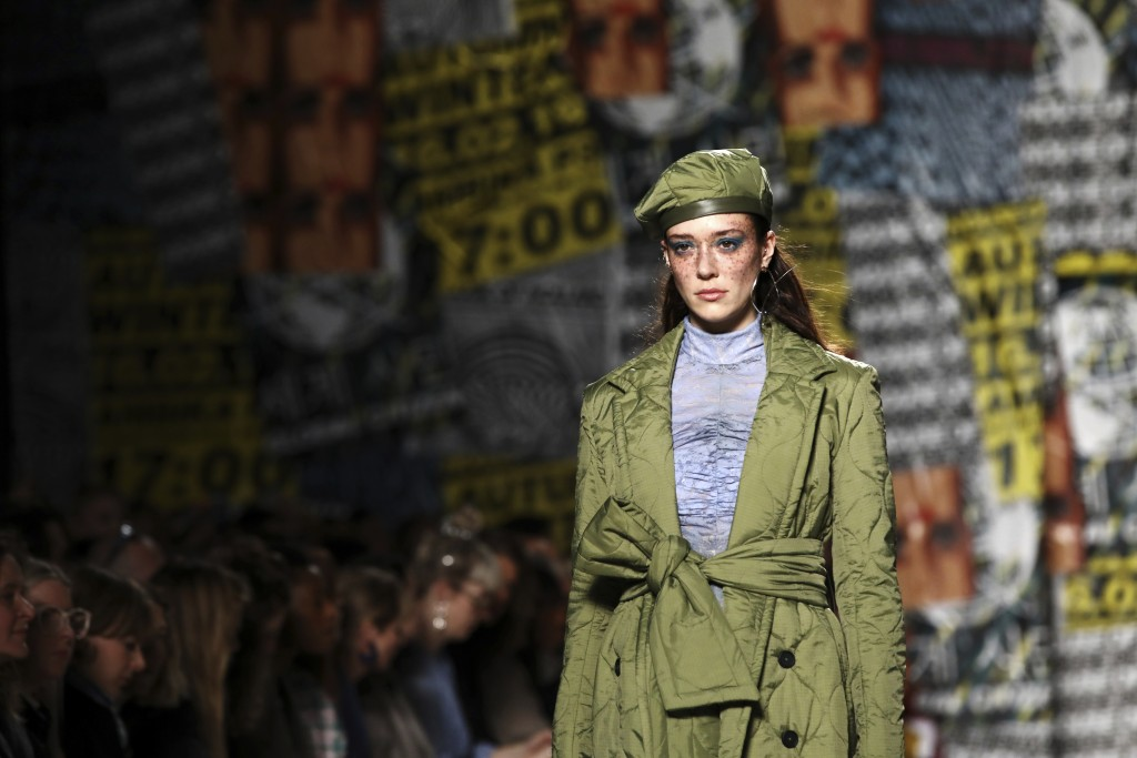 A model wears a creation by designer House of Holland at the Autumn/Winter 2019 fashion week runway show in London, Saturday, Feb. 16, 2019.(Photo by ...
