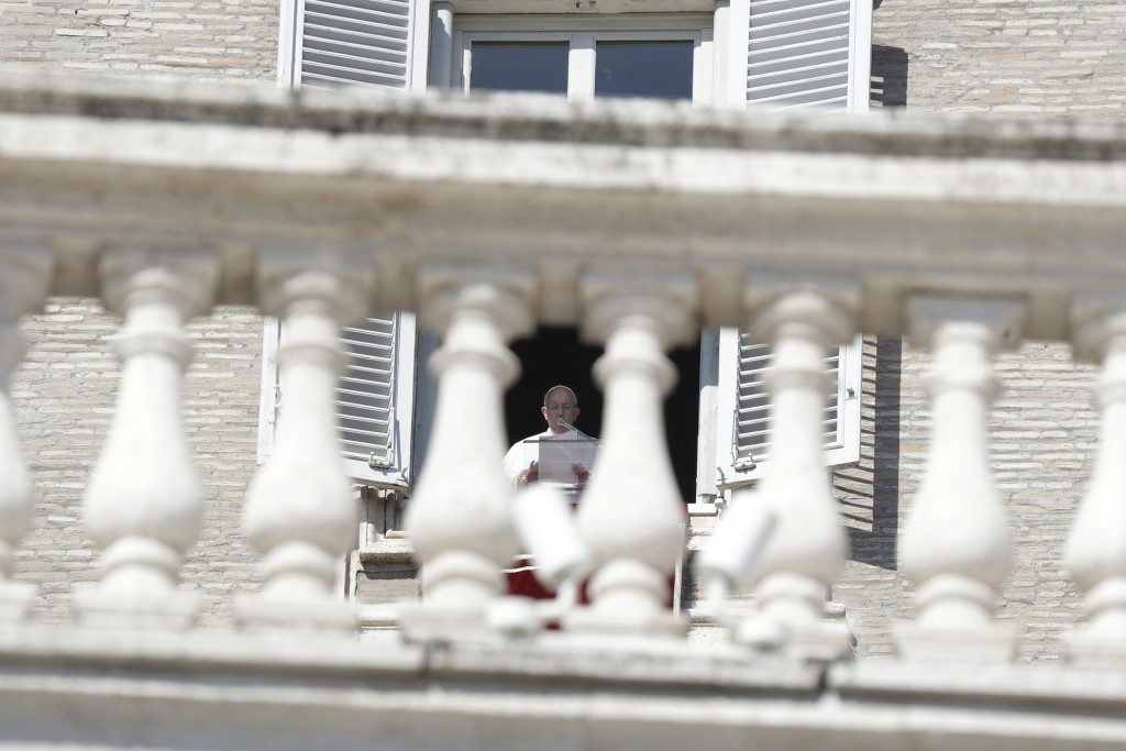 Pope Francis delivers his message during the Angelus noon prayer in St. Peter's Square at the Vatican, Sunday, Feb. 17, 2019. The pontiff is asking fo...