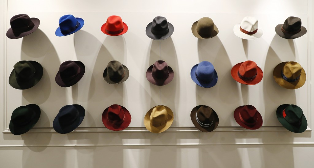 Hats are shown in a Borsalino store in downtown Milan, Italy, Wednesday, Jan. 16, 2019. If the traditional Italian hat-maker Borsalino was once synony...