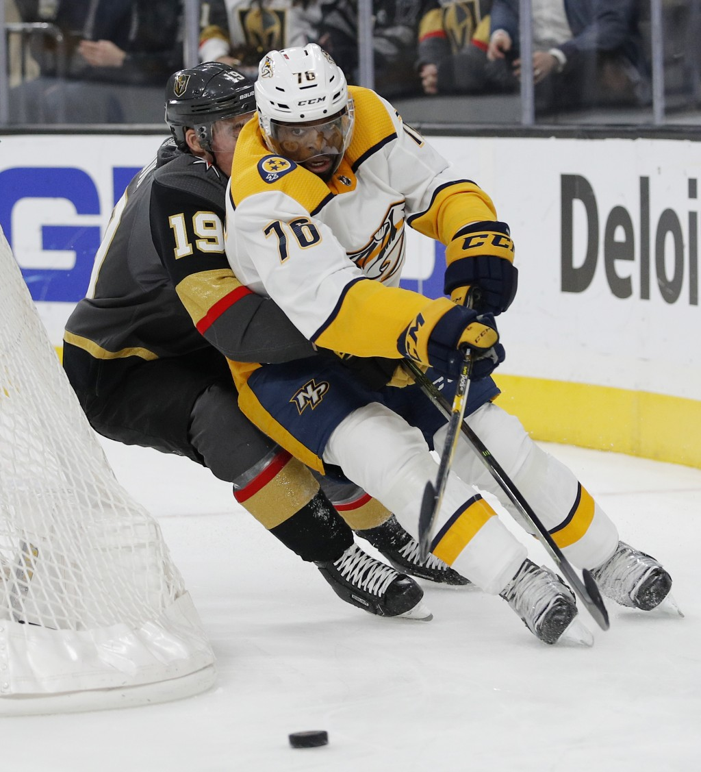 Nashville Predators defenseman P.K. Subban (76) skates around Vegas Golden Knights right wing Reilly Smith (19) during the second period of an NHL hoc...