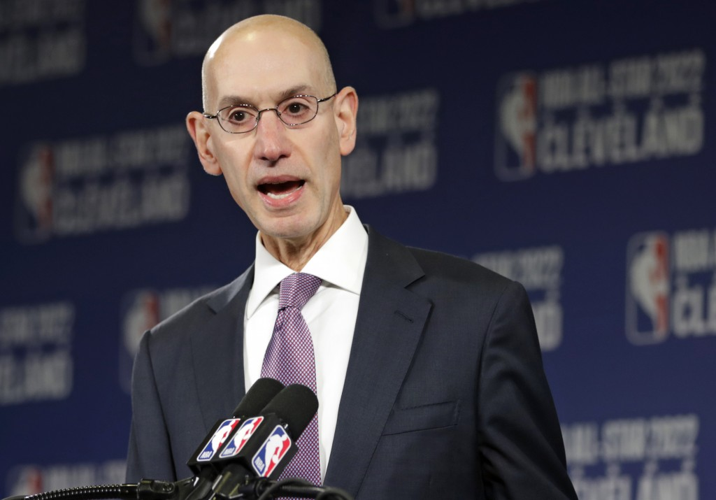 FILE - In this Nov. 1, 2018 file photo, NBA Commissioner Adam Silver announces that the Cleveland Cavaliers will host the 2022 NBA All Star game durin...