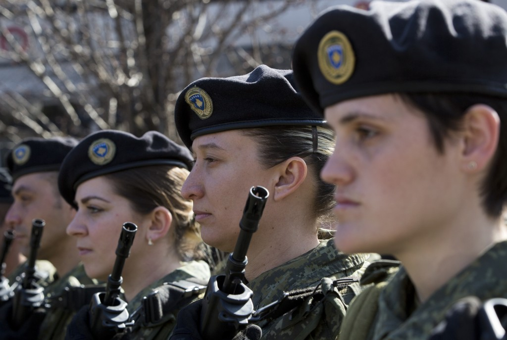Kosovo Security Force members march during celebrations to mark the 11th anniversary of independence, in Pristina, Sunday, Feb. 17, 2019. Kosovo has c...