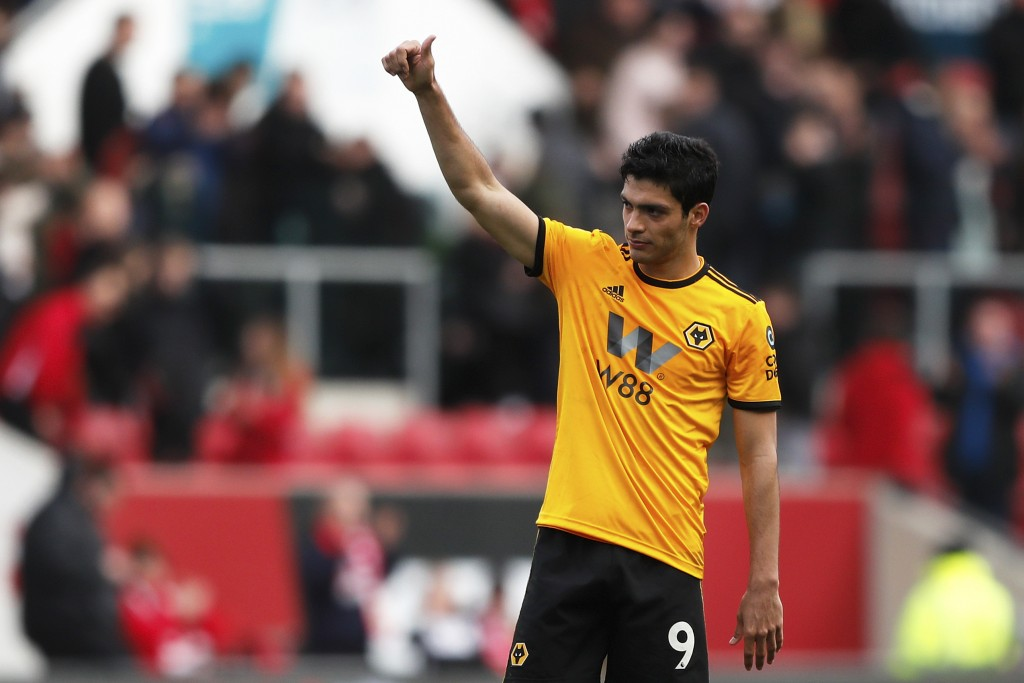 Wolverhampton's Raul Jimenez gestures at the end of the English FA Cup fifth round soccer match between Bristol City and Wolverhampton Wanderers at As...