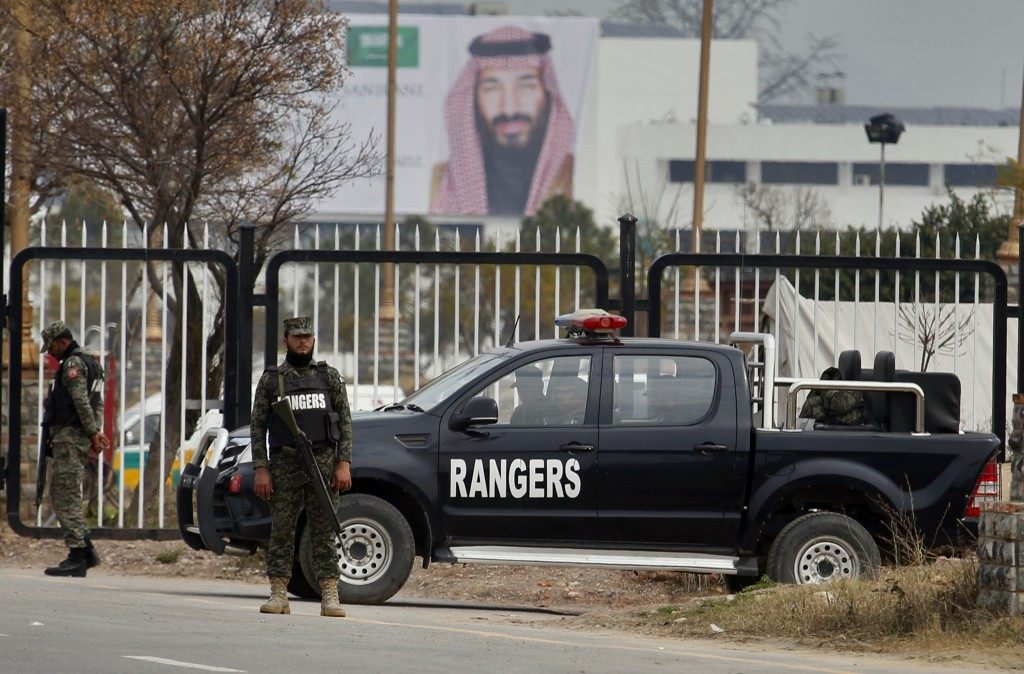 Pakistani paramilitary soldier stand guard near the presidency to ensure security ahead of Saudi Arabia's crown prince visit to Pakistan, in Islamabad...