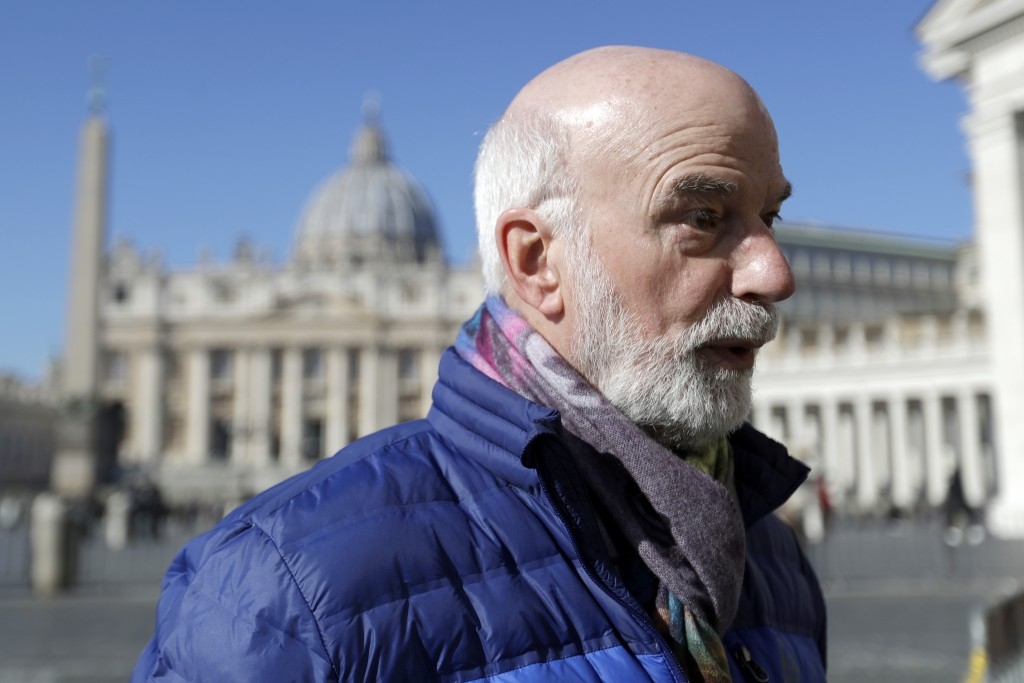 Timothy Law, President of the ECA (Ending Clergy Abuse) organization, is interviewed by The Associated Press in St. Peter's Square at the Vatican, Sun...
