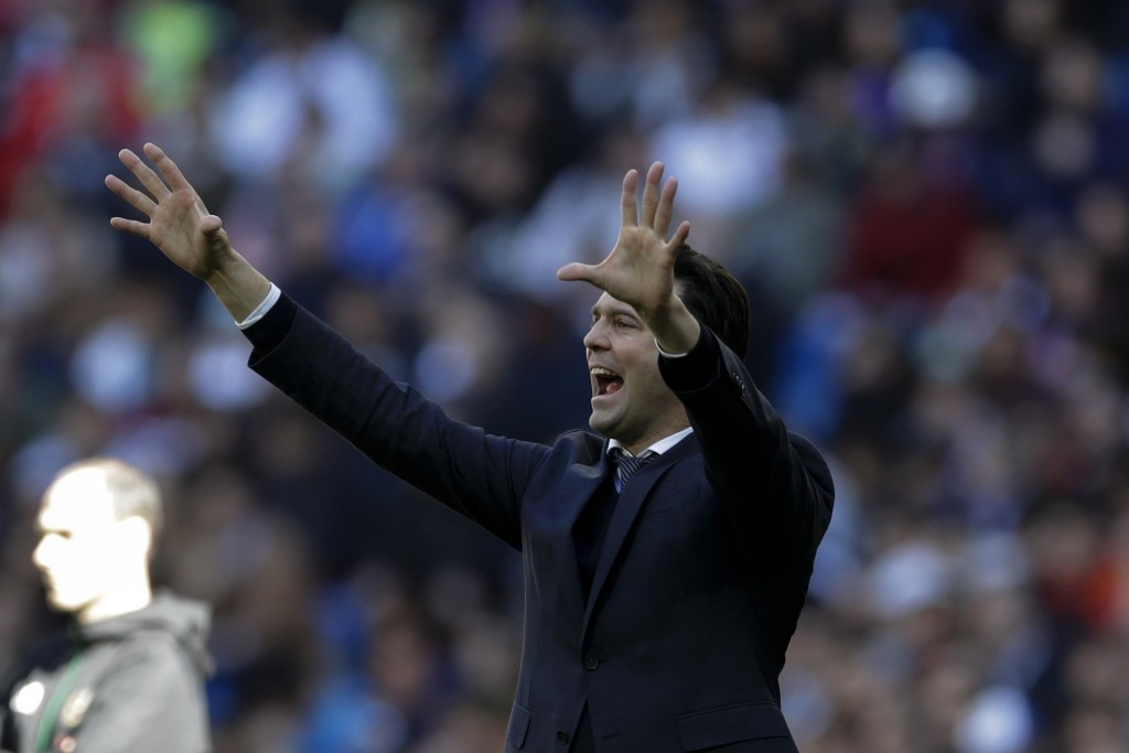 Real Madrid's head coach Santiago Solari shouts instructions during a La Liga soccer match between Real Madrid and Girona at the Bernabeu stadium in M...