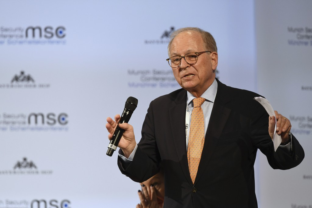 Wolfgang Ischinger, chairman of the Munich Security Conference during his closing speech at the Munich Security Conference in Munich, Germany, Sunday,...
